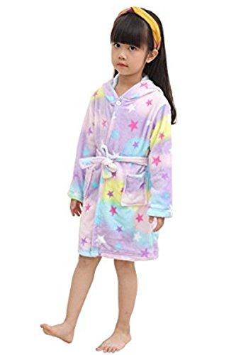 oamore Kinder Einhorn Bademantel Morgenmantel mit Kapuze Robe Nachtwäsche Schlafanzug Cosplay Kostüme Tier Ankleiden (Star, 120cm)