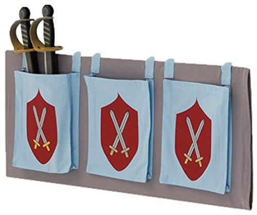 Steens For Kids Utensilo/Taschenset für Kinderbett/ Hochbett, 93 x 38 x 1 cm (B/H/T), Baumwolle, grau /blau (Hochbett Grau)