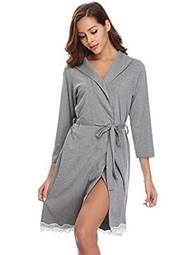 Sykooria Pigiama Kimono da Notte Donna in Cotone, Camicia da Notte Scollo a V Elegante Sexy, Vestaglie Cotone...
