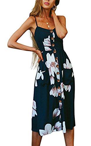 Kleine Damen Spaghetti (Angashion Damen V Ausschnitt Spaghetti Buegel Blumen Sommerkleid Elegant Vintage Cocktailkleid Kleider, Größe: XL, Farbe: 0860 Navy Blau)
