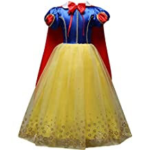 Eleasica Manches Bouffante Robe de Cosplay Princesse Blanche-Neige  Officielle Tenue Cape Tutu en Tulle d07af8882551