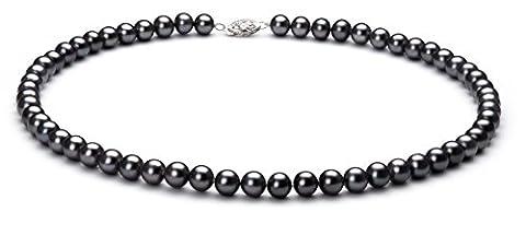PearlsOnly - Noir 6-7mm perles d'eau douce 925/1000 Argent-Collier de