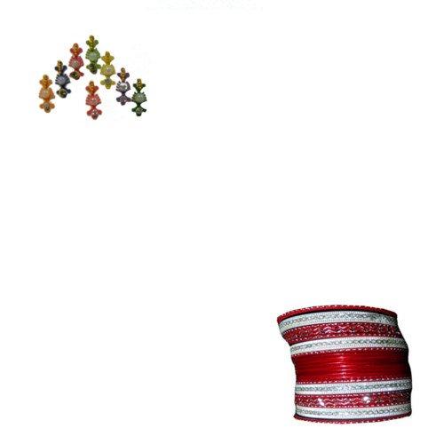 Indische Bangles 24 Armreifen Lovely rot 7 cm mit Bindis Bollywood Sari Schmuck (Indische Armreifen Rot)