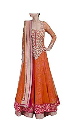 Varibha® Women's Orange & Pink Party Wear Net Anarkali Suit Dress Material | Best Deal Of The Day | Best Offer Of The Day | diwali offers for women dresses | diwali offers for women dresses | diwali offer 2017 | today best offers
