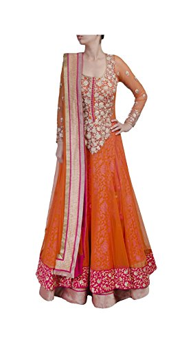 Varibha® Women\'s Orange & Pink Party Wear Net Anarkali Suit Dress Material | Best Deal Of The Day | Best Offer Of The Day | diwali offers for women dresses | diwali offers for women dresses | diwali