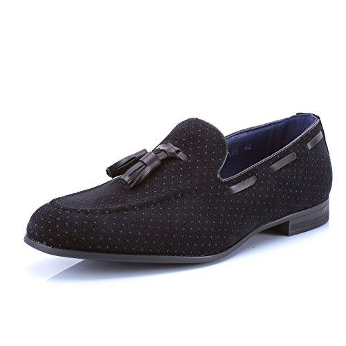 Mforshop scarpe uomo francesine parigine mocassino tessuto pois nappine elegante moda y41 - nero, 41