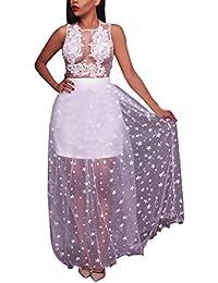 Abiti Da Cerimonia Donna Eleganti Da Sera Lunghi Estivi Moda Unique  Trasparente Tulle Vestiti Smanicato Rotondo eef291a4c23