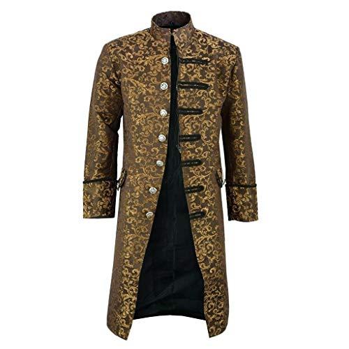 Feytuo Herren Steampunk Mantel Vintage Button Long Jacke Retro Kostüme für Erwachsene Mantel Retro (Zigeuner Kostüm Zum Verkauf)