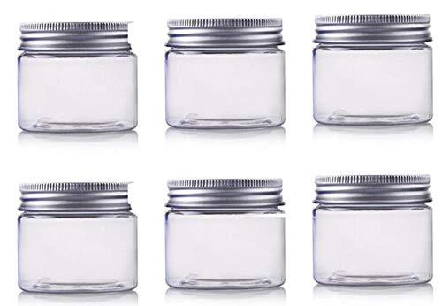 6 botellas de crema de boca ancha de plástico transparente vacías rellenables con cubierta de aluminio para máscara, barro, pomadas, caja de frascos