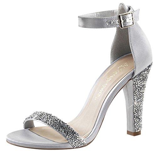 High Heels Sandalette, Damen, Silber (silber) Silber (Silber)