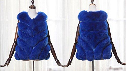Donne Faux Fur Vest Senza Maniche Giacchetto Cappotto Caldo Gilet Giacca Saphirblau