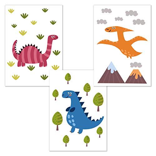 kizibi 3er Poster Set Dinos DIN A4 | ohne Bilderrahmen | Kinderzimmer Babyzimmer Jungen Mädchen Wandbild Dinosaurier (Set 05)