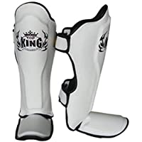 MMABLAST Top King Professional Protège-Tibias Pro–Cuir Geinuine–Tksgp-gl-White