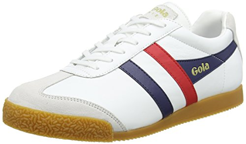 Gola Herren Harrier Leather Sneaker, Weiß (White/Navy/red), 43 EU