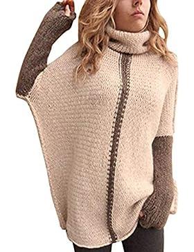 Jersey Cuello Alto Mujer Vintage Casuales Pullover Punto Otoño Invierno Tejer Arriba Top Color Sólido High Collar...