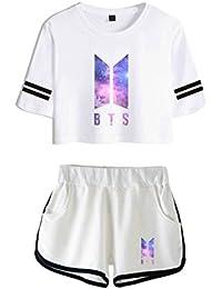 2018 Moda 2 Piezas Conjunto Mujeres Nueva Impresión Coreana BTS Tops Verano Camiseta Corta Mujeres Dos
