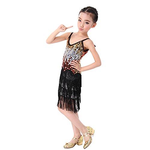 en Latin Dance Dress Paillettenfransen Bühnenperformance Spiele Ballroom Dance Kostüm Mädchen Latein Salsa Tango Quaste Tanzrock (Salsa Kostüme Für Mädchen)