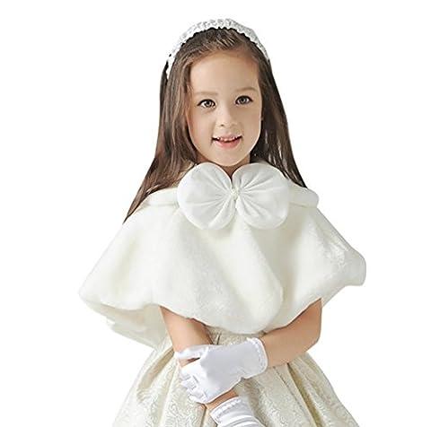 CHENGYANG Enfant Filles Demoiselles d'honneur Cape Mariage Fausse Fourrure Boléro Shrug (Blanc, S)