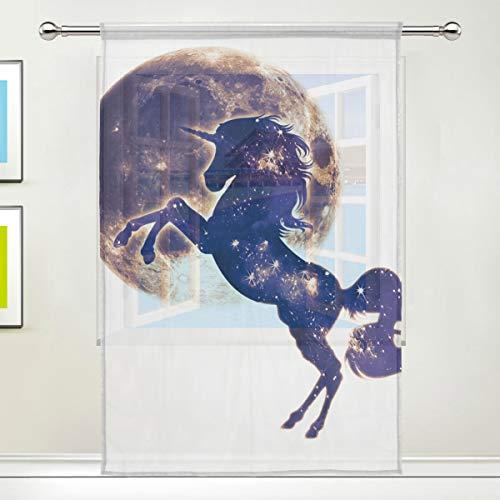 XiangHeFu Mond Einhorn Tüll 55x78x1 (Zoll) 1 Panel Voile Gardine Gold