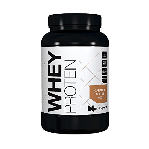 Premium Whey Protein für Muskelaufbau & Abnehmen in leckeren Geschmäckern | Low Carb Eiweiß-Shake, Eiweiß-Pulver mit Aminosäuren (BCAA) | 1kg NeoSupps Protein Pulver - Karamell Toffee
