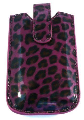 Emartbuy ® Dark Purple Leopard / Case / Sleeve / Holder (Größe Medium) Mit Pull Tab Mechanismus Geeignet Für Huawei G6151