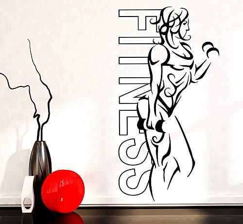 guijiumai Wandaufkleber Vinyl Fitness Mädchen Frau Eisen Sport Yoga Gesundheit Leben Wandtattoo Home Gym Dekoration Neuheiten Hellrosa 56x108 cm