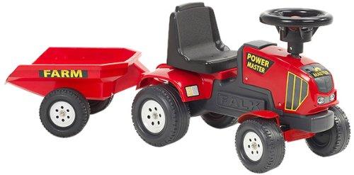 Falk 1013B - Trattore giocattolo Power Master con rimorchio, colore: Rosso