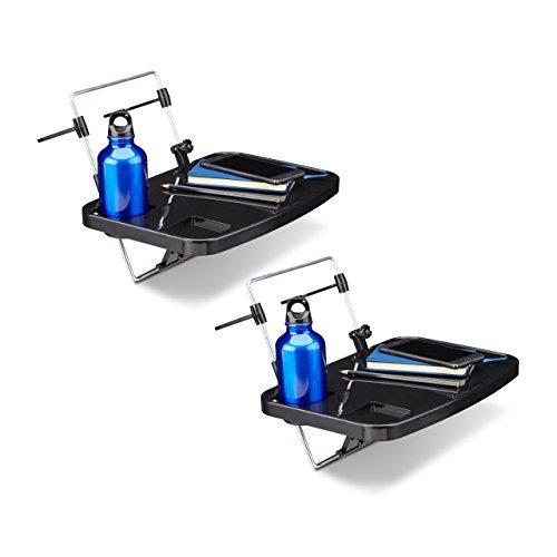 Preisvergleich Produktbild 2 x Klapptisch fürs Auto, Autotisch zum Einhängen an Rücksitz und Lenker, Mehrzwecktisch mit Getränkehalter