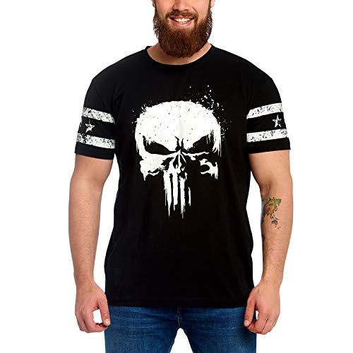 PUNISHER Camiseta Logo de Calaveras para Hombre, con Manga Marvel...