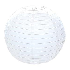 Huahan Haituo Lampenschirm rund weiß Papier Classic Bamboo Style Gerippter Lampenschirm Deko für Party Garten und Hochzeit (30cm / 12