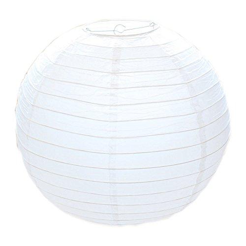 Classique blanc rond papier bambou style lanternes abat-jour mariage fête d'anniversaire décoration (20cm)
