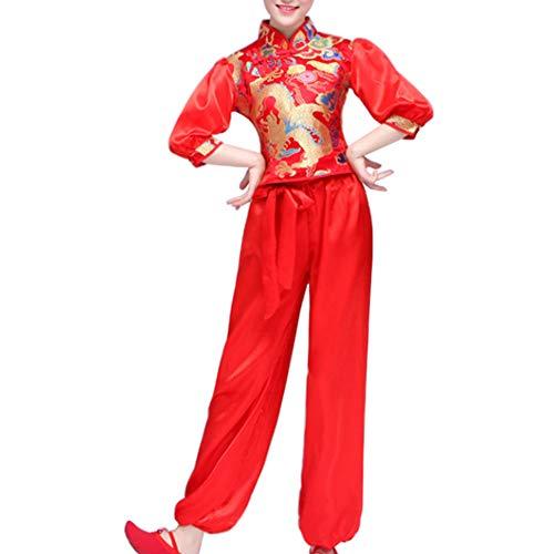 Yudesun Damen Herren Tanzsport Bekleidung - Chinesischer Nationaltanz Kostüm Trommeln Hüfttrommeltanz Performance Klassik Slim Fit