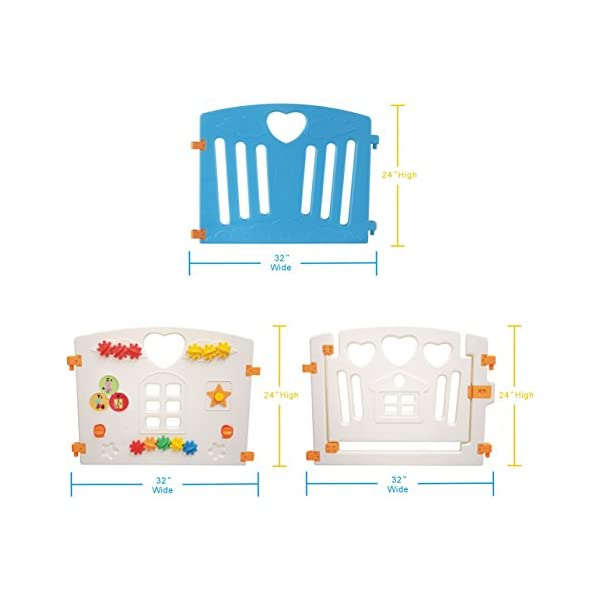 Baby Playpen Kids Activity Centre Safety Play Yard Home Indoor Outdoor New Pen (Multicolour, Classic Set 14 Panel) (Blue 8 Panel) Gupamiga MOM'S LIFESAVER: Keep baby safe in there play centre when mom/dad needs to cook, clean up, go to the bathroom, etc. STURDY HOLDING: Specially designed rubber feet underneath of the yard so the parts don't go sliding around. COVERS A LARGE AREA: It is a great amount of space for baby to learn walk and even laying with baby in it for play time. 8