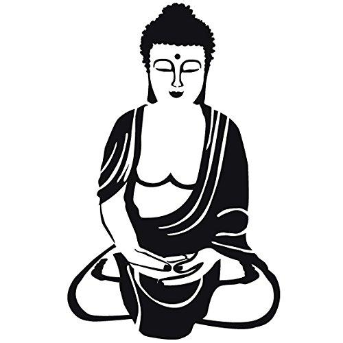Wadeco Akshobhya Buddha Wandtattoo Wandsticker Wandaufkleber 35 Farben verschiedene Größen, 96cm x 152cm, braun