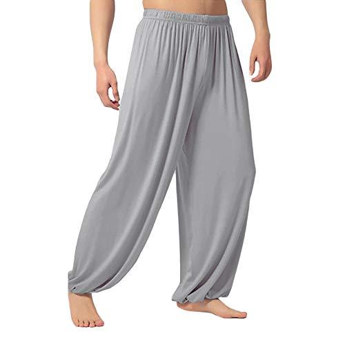 VRTUR Herren Yogahose, auch für Pilates, Fitness, Training, Freizeit, Lounge, Schlafen, Kampfsport, Tanzen,S-XXXL(XX-Large(Taille: 82-112 cm),Grau) -