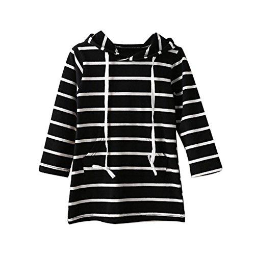 Loveble Mädchen lange Hülsen gestreiftes mit Kapuze Kleid (Kinder Schwarz Im Unsichtbaren Kostüme)