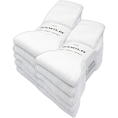 GAWILO 10 Paar Arbeitssocken – Sportsocken – Tennissocken – Freizeitsocken – Damen & Herren (39-42, weiß)