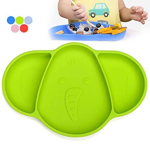 Piatto Ventosa Bambini Neonato, iKiKin Tovagliette Bambini in Silicone, Portable Tovaglietta Antiscivolo per Il Seggiolone, lavastoviglie e Microonde Sicuro (Verde)