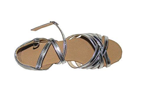 Pobofashion Silberne Kinderschuhe (PU) mit Schnalle für lateinamerikanische Tänze-Tanzschuhe Silber