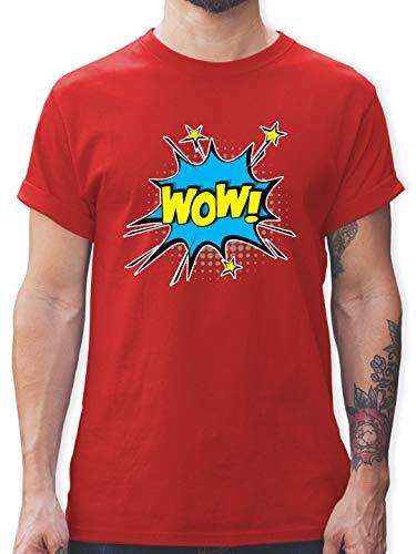 Karneval & Fasching - Popart Karneval Kostüm Wow! - M - Rot - L190 - Herren T-Shirt und Männer Tshirt (Pop Art Comic Mann Kostüm)