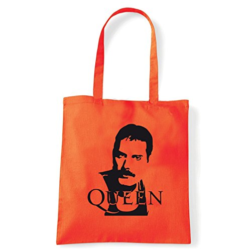 Art T-shirt, Borsa Shoulder Queen Freddy Mercury, Shopper, Mare Arancio