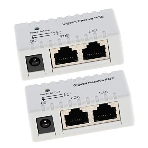 H HILABEE 2 Stü Passives Gigabit PoE, 12 52 V 2000 MA Power Over Ethernet PoE Injektor Für IP Kameras, Drahtlose APs, VoIP Und Weitere PD Geräte