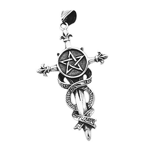 Colgante del pentáculo espada Cruz fortuna acero inoxidable collar de piel cadena gótico flor de Lis kugelkette para mujer para hombre