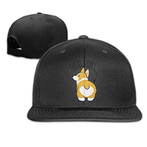 Cool Guess What Corgi Butt Hat Mens Womens Baseball Hat Hip Hop Casquette Cap Snapback Hats Black