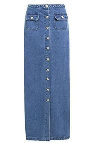 SS7 Nouvelles Femmes Jeans Jupe Longue, Bleu Denim, Tailles 36 à 44 - Jean Bleu, 36