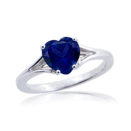 Silver Dew 925 Kt Rhodium Plated Solitaire Heart Shape Blue Sapphire Birthstone Ring For Women