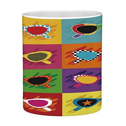 Rongpona Lustige Kaffeetasse mit Zitat 70er Jahre Party-Dekorationen 11 Unzen lustige Kaffeetasse Pop-Art-Stil Sonnenbrille lebendige Bunte Kombination Sommerspaß dekorative Multicolor