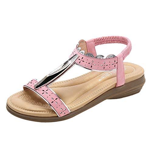 ❤Eaylis Damen Sandalen BöHmischer Keil Mit Rundem Metallkopf Sommer Strand Schuhe Hausschuhe Stilvoll und elegant
