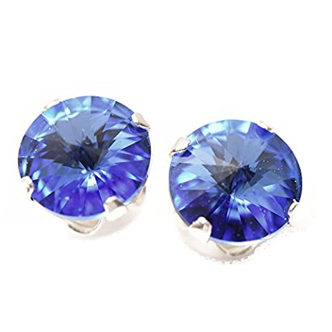 Sterling Silver stud earrings expertly made with Sapphire Blue crystal from SWAROVSKI® for Women