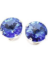 pewterhooter 925 Sterling Silver stud earrings expertly made with Sapphire Blue crystal from SWAROVSKI® London Box.